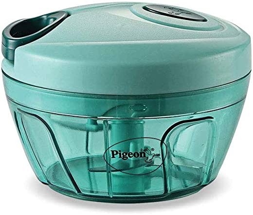 Pigeon Mini Handy and Compact Chopper with 3 Blades for Effortlessly Chopping Vegetables and Fruits for Your Kitchen (12420, Green, 400 ml)
