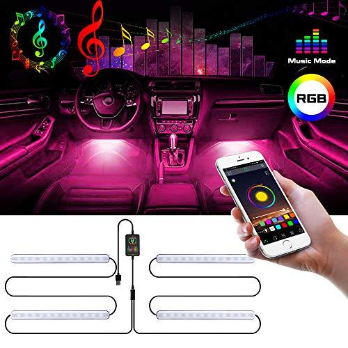 MEckily LED Innenbeleuchtung Auto, Multi DIY Farb wasserdicht 4pcs 48 Auto Innenraumbeleuchtung...