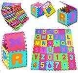 KIDIZ Spielmatte 86 tlg. Spielteppich Puzzlematte Kinderteppich Matte Schutzmatte Kinderspielteppich Schaumstoffmatte ABC bunt Lernteppich Puzzleteppich Puzzle Zahlen und Buchstaben
