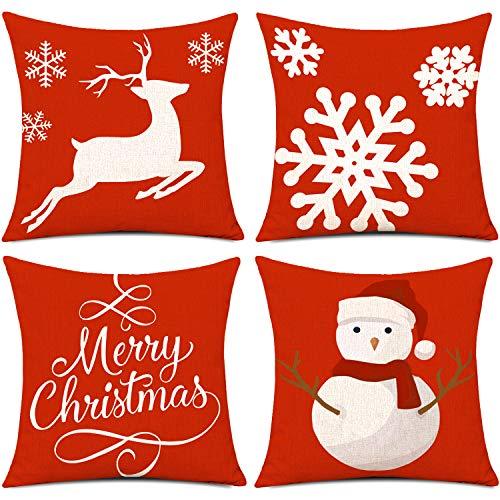 Whaline 4 Stück Frohe Weihnachten Kissenbezug, Schneemann Rentier Schneeflocke Kissenbezug, Baumwolle Leinen Schlafsofa werfen Kissenbezug Dekoration (18