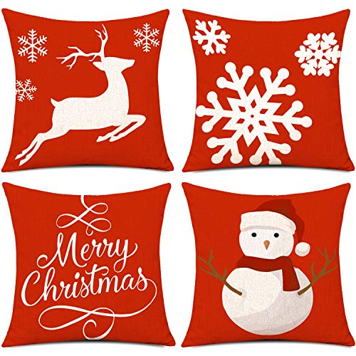 Whaline 4 Piece Merry Christmas Pillow Case Snowman Reindeer Snow Cushion Cover, Cotton Linen Sofa Bed Throw Cushion Cover Decoration (18' x 18')