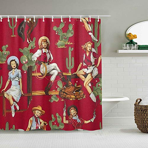 ALLMILL Shower Curtain Vintage Sexy American Rustic West Cultural Cowgirl Waterproof Bath Curtains Hooks Included - 72 x 72 inches Bathroom Decorative Ideas Polyester Fabric Accessories