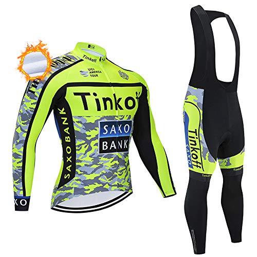 Tuta da Ciclismo PRO Team per Uomo, Abbigliamento da Ciclismo MTB Manica Lunga Invernale