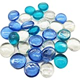 Filler Floral Accents Glass Gems with Summer Classic Color,Mix Sea Blue Clear Flat Marbles(1 Pound) for Home Decor Table Scatter,Vase, Arts and Crafts,Mosaics Items,1LB