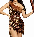 Dreamgirl Women's Clubbin' Cutie Leopard Cavewoman Costume Dress, Brown, Large