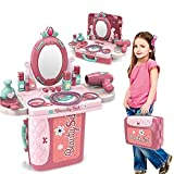 REAVIAN3 in 1 Beauty Makeup Pretend Play Set Fashion Set Suitcase Toy, Gift for Girls 3-8 Year Old Kids Great Gift