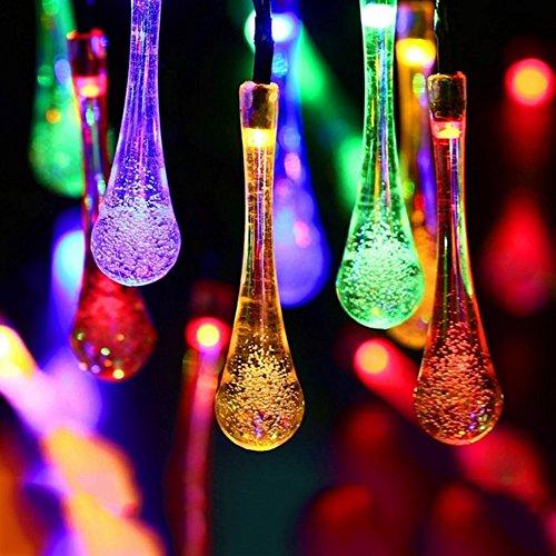 Wasser Tropfen Lichterkette, EONANT Wasser-Tropfen-feenhafte Lichter 20ft 30LEDs Solarwasser-Tropfen Wasserdicht für im Freien, Garten, Weihnachtsdekorationen (Multicolor)