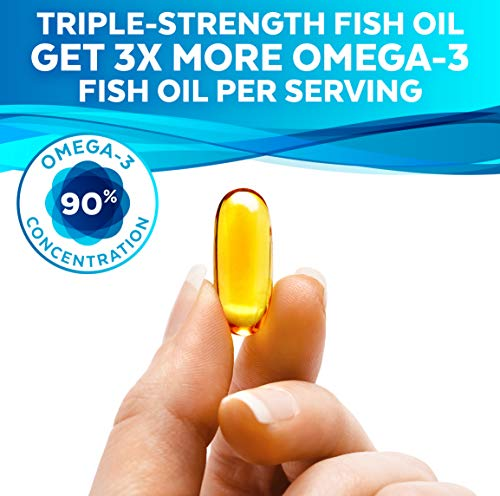 Omega 3 Fish Oil - Omega 3 Supplement with Essential Fatty Acid Combination of EPA & DHA, Triple Strength Wild Fish Oil softgels with No Fish Burps, 180 capsules 5