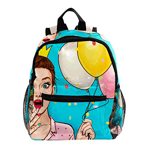 Young Surprised Woman Kids backpacks,Cute Lightweight Resistant Preschool Backpack for Boys and Girls Chest Strap
