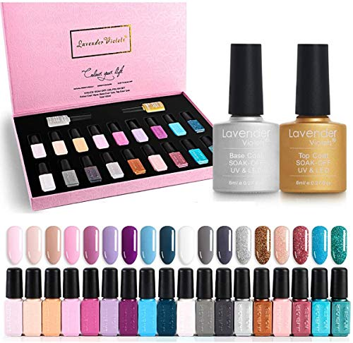 Lavender Violets 20 Stück Gel Nagellack UV-LED 18-Farben-Decklacke Grundschicht für Nail Art Salon Design F984 einweichen