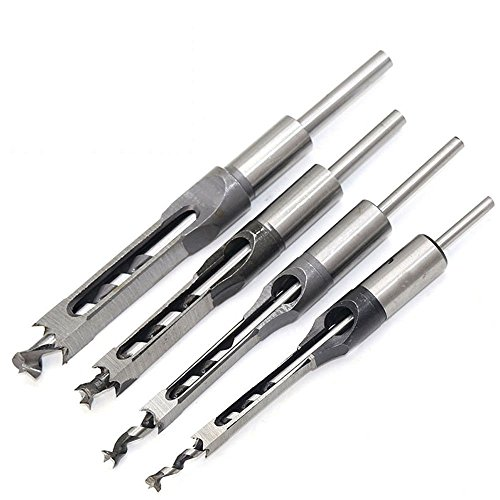 4Pcs lavori di falegnameria foro quadrato punte legno Mortasatrice scalpello set, lavorazione del legno sega Mortise scalpello punta kit set con punta elicoidale DIY Mortasatrice scalpello Power Tools