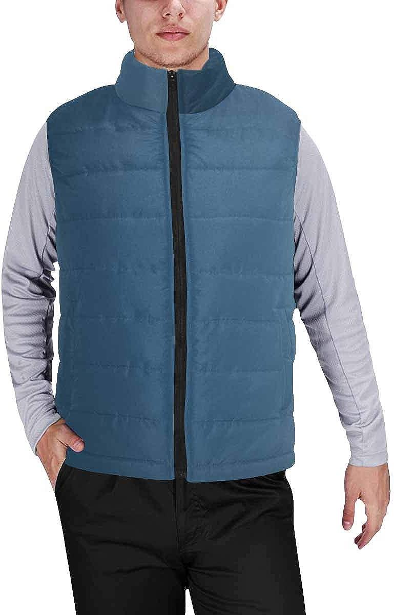 InterestPrint Men's Soft Full Zip Sleeveless Jacket for Running, Hiking Vintage Typographical