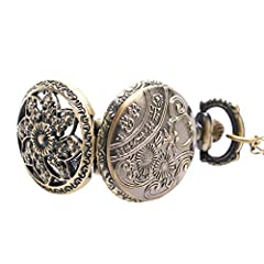 Vintage Chain Pocket Watch, Bronze Sun Flower Retro Roman Numerals Quartz Fob Pocket Watch With Necklace Chain Gift #4
