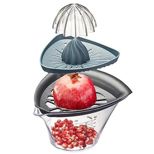 GEFU Granatapfelentkerner und Entsafter FRUTI, Saftpresse für Zitronen und Orangen, inkl. praktischer Skalierung, multifunktionale Presse