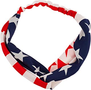 Girls Xmas Christmas Halloween America USA Americana 4th of July American Pride Red White & Blue Knotted Fabric Stretch Headband