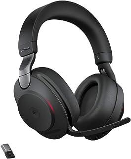 Jabra Evolve2 85 Wireless PC Headset – Noise Cancelling Microsoft Teams Zertifizierte Stereo Kopfhörer mit langer Akkulaufzeit – USB A Bluetooth Adapter – Schwarz