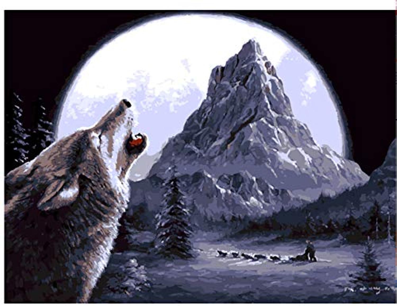 Superlucky Ölgemälde durch durch durch Zahlen Tiere Wolf Moonlight malerei auf leinwand hauptdekoration Wand kinderzimmer dekor gerahmt 40x50 cm B07K8QTX2M | Spielzeugwelt, fröhlicher Ozean  f17b63