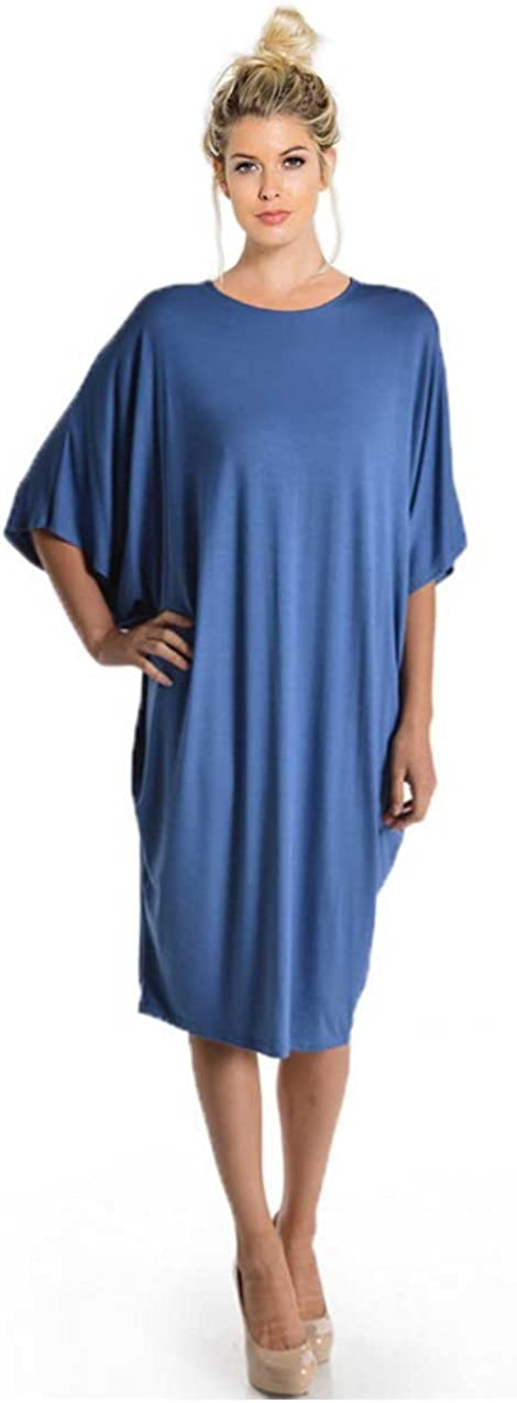 Tabeez Women's Oversized Jersey Shift Knee Length Loose Midi Dress with Kimono Sleeves