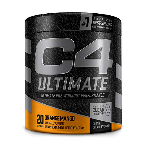 C4 Ultimate Pre Workout Powder Orange Mango - Sugar Free Preworkout Energy Supplement for Men & Women - 300mg Caffeine + 3.2g Beta Alanine + 2 Patented Creatines - 20 Servings
