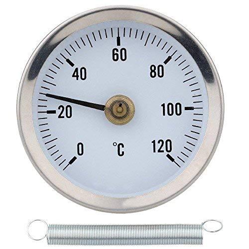 Termómetro de tubo de agua caliente de clip 0-120C 63MM termómetro de equilibrio de radiador medidor de temperatura con resorte bimetálico de acero inoxidable superficie de contacto