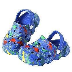 5. Kitulandy Boy's Slip-on Bright Blue Dinosaur Clogs