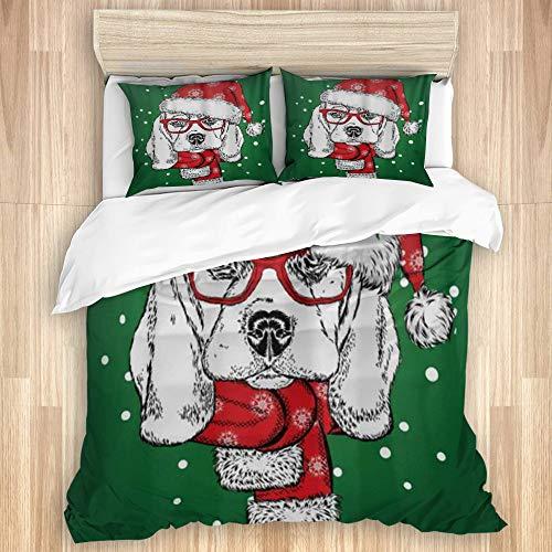 MEJX Juego de Funda de Edredón,Lindo Sombrero Navideño Beagle Navidad Año Nuevo Perro,Microfibra 1 Sábana de Cama 240x220 + 2 Fundas de Almohada 80x50,King
