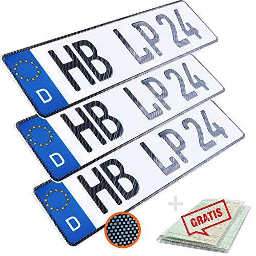 L & P Car Design KFZ Kennzeichen 3 Stück 52cm x 11cm in Carbon Optik Nummernschild 520mm x 110mm Wunschkennzeichen DIN Autokennzeichen Fahrradträger Anhänger LKW Wunschprägung amtliches Autoschild