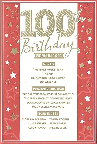 Tarjeta de felicitación de 100 cumpleaños nacida en 1921, color rojo