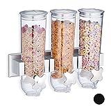 Relaxdays Müslispender, Dreifach, Wandmontage, Cornflakes & Süßigkeiten, HBT 32 x 40 x 14,5 cm,...