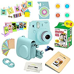powerful Fujifilm Instax Mini 9 Camera + Fuji Instax Instax Film (20 sheets) + 14 Instax PC Accessories…