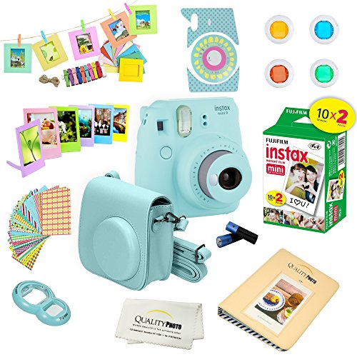 Fujifilm Instax Mini 9 Camera + Fuji INSTAX Instant Film (20 Sheets) + 14 PC Instax Accessories kit Bundle, Includes; Instax Case + Album + Frames & Stickers + Lens Filters + More (Ice Blue)