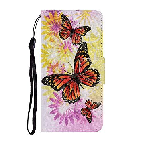 Miagon for Samsung Galaxy A10 Case,Colorful Pattern Folding Stand PU Leather Wallet Flip Cover with TPU Inner Bumper Card Slots Magnetic Closure,Chrysanthemum Butterfly