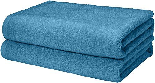 AmazonBasics Quick-Dry Bath Towels, 100% Cotton, Set of 2, Lake Blue