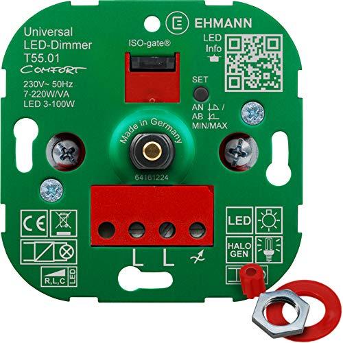 EHMANN 5500x0100 T55.01 Universaldimmer Comfort mit ISO-Gate Technologie, Unterputz-Drehdimmer, Dimmprinzip frei wählbar, Leistung: LED 3-100W, 7-220W/VA