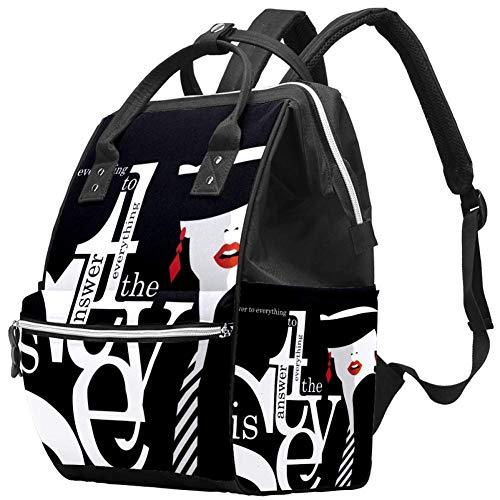 Mädchen-Kunst-Mode-Zitat mit Mode-Frau Windel Wickeltasche Windelrucksack mit isolierten Taschen Kinderwagengurte, große Kapazität Multifunktionale stilvolle Wickeltasche für Mama Papa im Freien