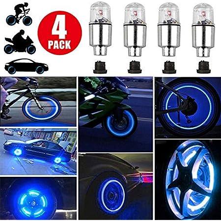 5pcs Bike Bicycle Valve Dust Cap LED Lights 7 Color Neon Wheel Tire Light