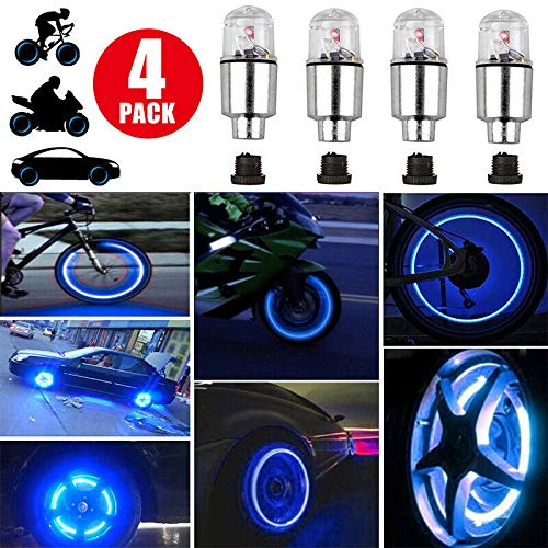 4Pcs Blue LED Wheel Lights -Bike Tire Valve Stem Neon Light Bulb For Car Motorcycle Wheel Tyre Valve Dust Cap, Safety, Waterproof, Motion Activated, Spoke Flash Lights Car Valve Stems Caps Accessories