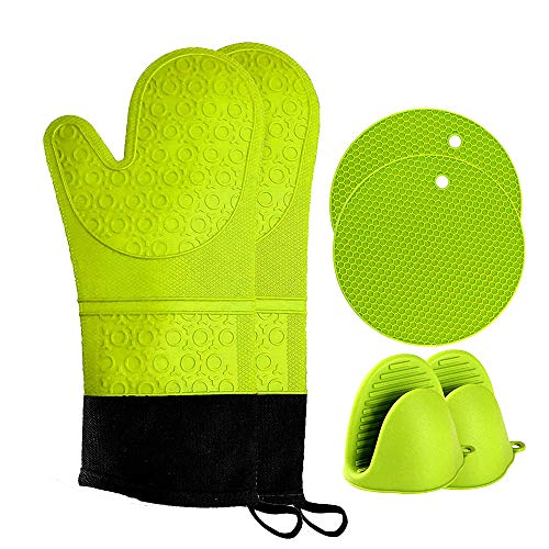 Oven Mitts and Pot Holder- Extra Long Silicone Oven Mitt Heat Resistant with 2 trivets & Mini Pinch Oven Mitts-Food Safe Baking Gloves for Cooking in Kitchen with Soft Inner Lining, Pack of 6 (Green)