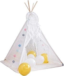 Vobajf Lektält barn tipi-tält naturlig bomullsduk för flickor och pojkar barnrum dekor lektält (färg: Vit, storlek: 120 x ...