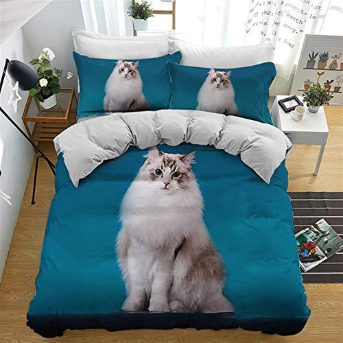 Funda De Edredón Y Funda De Almohada, Poliéster-algodón, Múltiples, Conjuntos De Tapa De Edredón 3D Doble 3D Animal Cat (Talla : 260x220cm)