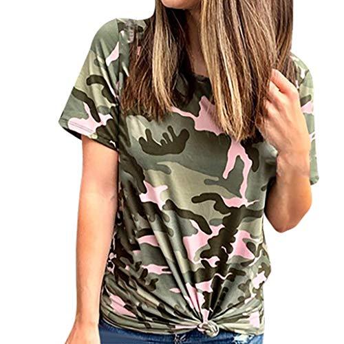 Momoxi Damen 2020 Sommer Tarnungs Druck Kurzschluss Hülsen Oberseiten Sommer Casual Crewneck Tunika Hemd Camouflage Top Tank T-Shirt Rosa M