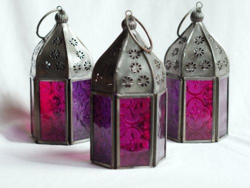 Set van 3 Marokkaanse tonale glazen thee lantaarns. Roze en Paars