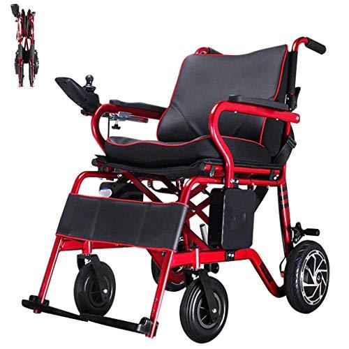 CANDYANA Silla de Ruedas eléctrica Inteligente Portátil Sillas de Ruedas Ligeras Manual Automático Conmutable Motor Dual para Personas de Edad Avanzada Discapacitados Rojo