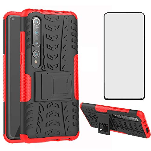 Phone Case for Xiaomi Mi 10/Mi10 Pro with Tempered Glass Screen Protector Cover and Stand Kickstand Hard Rugged Hybrid Protective Cell Accessories Xiami Xiomis Xiome Mi10Pro Cases Women Men Black Red