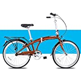 DJYD Licht Faltrad, Erwachsene Männer Frauen Falträder, 24' Single Speed Folding Stadt-Fahrrad, Aluminiumlegierung-Fahrrad mit Rück Carry-Rack, Weiss FDWFN (Color : Brown)