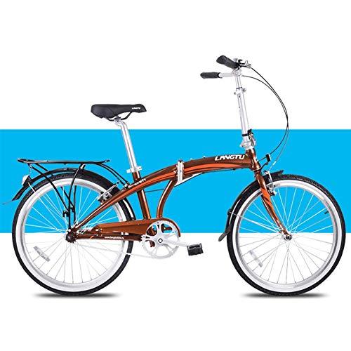 "DJYD Licht Faltrad, Erwachsene Männer Frauen Falträder, 24\"" Single Speed Folding Stadt-Fahrrad, Aluminiumlegierung-Fahrrad mit Rück Carry-Rack, Weiss FDWFN (Color : Brown)"