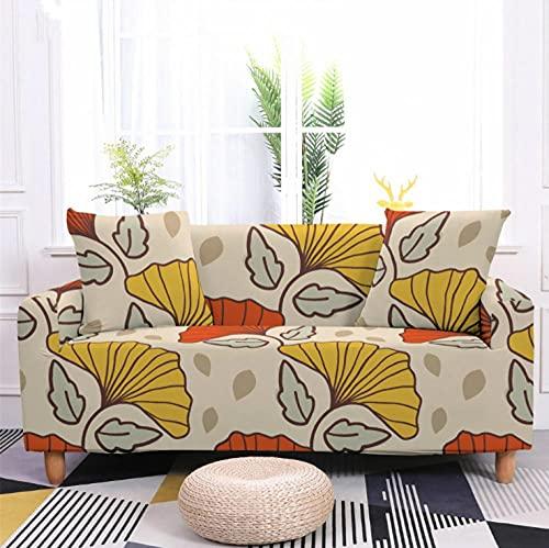Fundas de Sofá Elastica 3 PlazasPatrón de Hoja Amarilla Funda Cubre Sofa Regalar 2 Funda de Cojines Funda para Sofá Funda de sofá de Sillón Antideslizante Protector Cubierta de Muebles