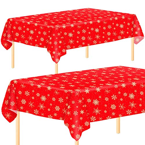 Aneco 2 Pack Christmas Snowflake Party Tablecloth Table Cover Disposable Christmas Plastic Tablecloth Table Cover 54 x 108 Inches for Christmas Party Decoration Supplies