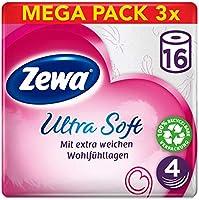 Zewa Toiletpapier, ultra zacht, 4 comfortlagen, betrouwbare kwaliteit, 1 voorraadverpakking met 48 rollen (3 x 16 rollen)