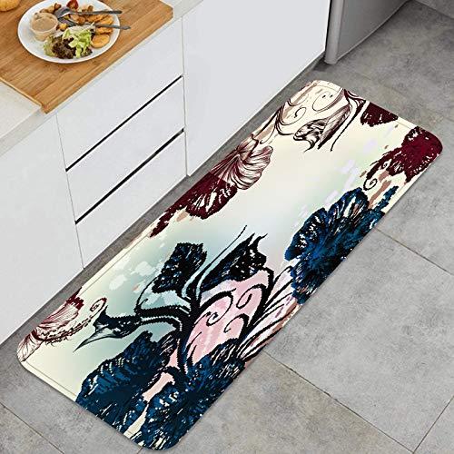 ZHIMI Alfombra de Cocina Antideslizante,Floral Vintage Fondo Flores de Hibisco Grabado,Estera de Cocina Felpudos Decorativo Alfombra para Dormitorio Baño Pasillo 45 x 120cm
